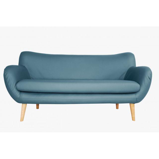 Rocambolesk Canapé Adele 3 Pu soft 08 bleu avec pieds naturels sofa divan