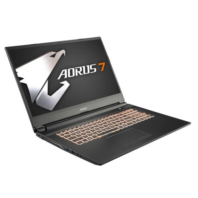 """AORUS 7-NA-7FR1131SH - Gris anthracite Ecran 17,3"""" Full HD IPS 144 Hz - Epaisseur 25,3 mm - Poids 2,5 kg - Clavier AZERTY rétroéclairé RGB - 2 Haut-parleurs - HDMI - Mini DisplayPort - USB 3.1 Type-C - USB 3.1"""