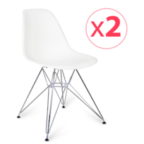 Novara Mobili - Pack 2 chaises Chrome Style Gris avec pieds en métal chromé