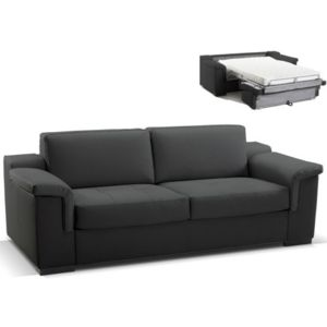 linea sofa canap 3 places convertible express cuir sup rieur hippias ii noir achat vente. Black Bedroom Furniture Sets. Home Design Ideas