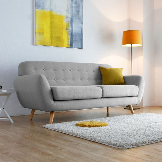 Concept Usine - Helsinki 3p : Canapé scandinave 3 places gris anthracite
