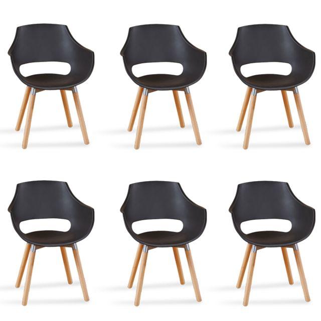 Oneboutic Lot de 6 fauteuils scandinaves noirs - Treia