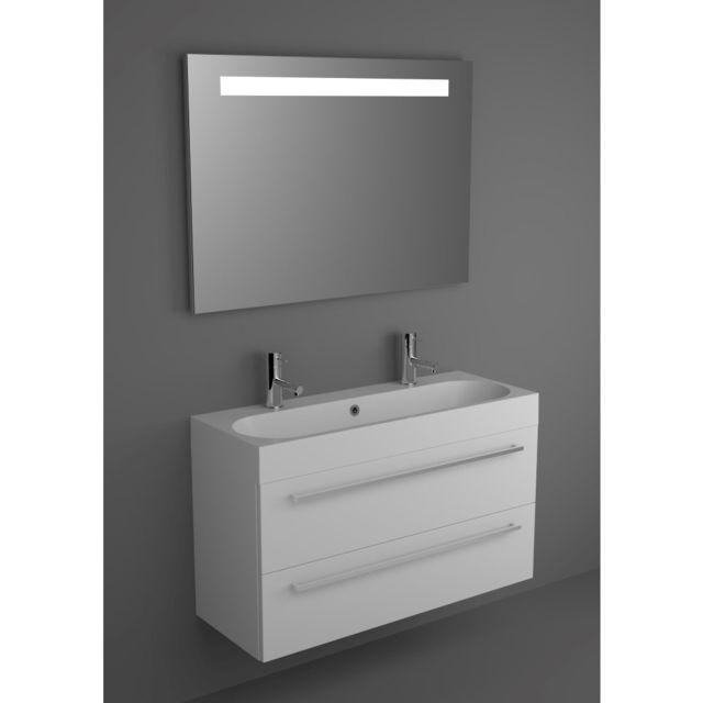 Riho Ensemble meuble & lavabo Slimline Set 72 en bois laqué brillant 100x38 H 60,5 cm