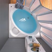 Maison De La Tendance - Baignoire d'angle en acrylique lucite Poseidon 137x137x45 cm avec tablier Wenge