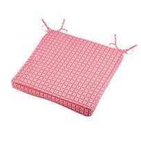 Stof - Galette de chaise polyester imperméable motif rosaces nouettes 40x40x5cm Mahari