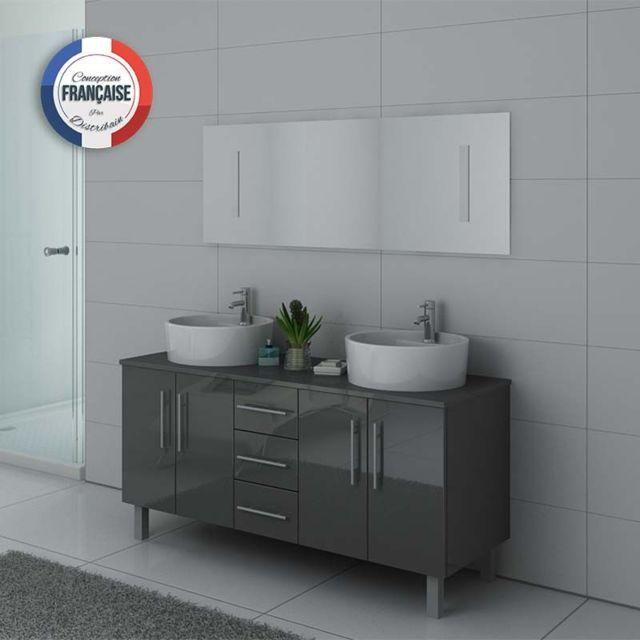 Distribain meuble double vasque dis989 gris taupe pas Meuble vasque gris