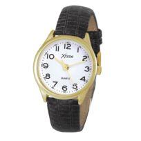 Xtime - Montre homme bracelet cuir noir et boitier doré Xth001-502