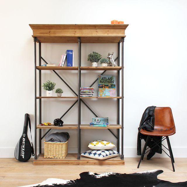 made in meubles etag re industrielle bois et m tal y11 en soldes pas cher achat vente. Black Bedroom Furniture Sets. Home Design Ideas