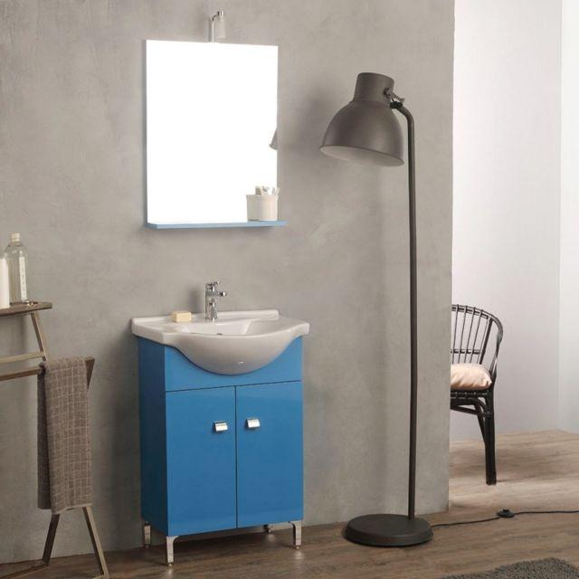 Kiamami Valentina - Meuble Vasque Sur Pieds 58 Cm Bleu Complet De ...