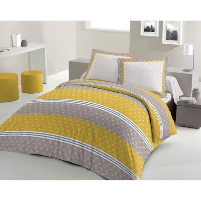 faaf7969669f67 Lovely Home - Parure de couette Scandinave 100% coton - 1 housse de couette  200x200 + 2 taies d oreillers 65x65 jaune moutarde et gris - pas cher Achat  ...
