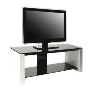 Erard smart meuble tv verre et bois 2 plateaux pas for Meuble tv bois et verre