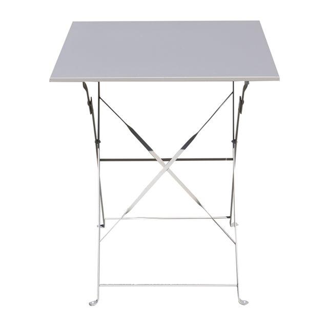PEGANE - Table de jardin pliante carrée coloris taupe - Dim : 60 x ...
