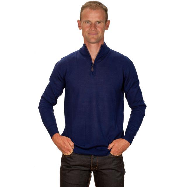 Ugholin Pull col zippé cachemire homme bleu électrique