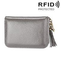 meilleur service ae745 4f59f Porte Carte Protection sans contact Anti Rfid gris pour les femmes, taille:  11,1 7,6 3,5 cm cartes Véritable cuir de vache couleur unie à glissière ...