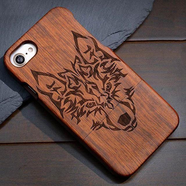 coque gravee 100 bois veritable iphone 5 5s se 6 7 8 plus x xr xs et xs max loup coque bois kokanboi