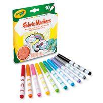 Crayola - 10 Feutres Fins pour Tissu