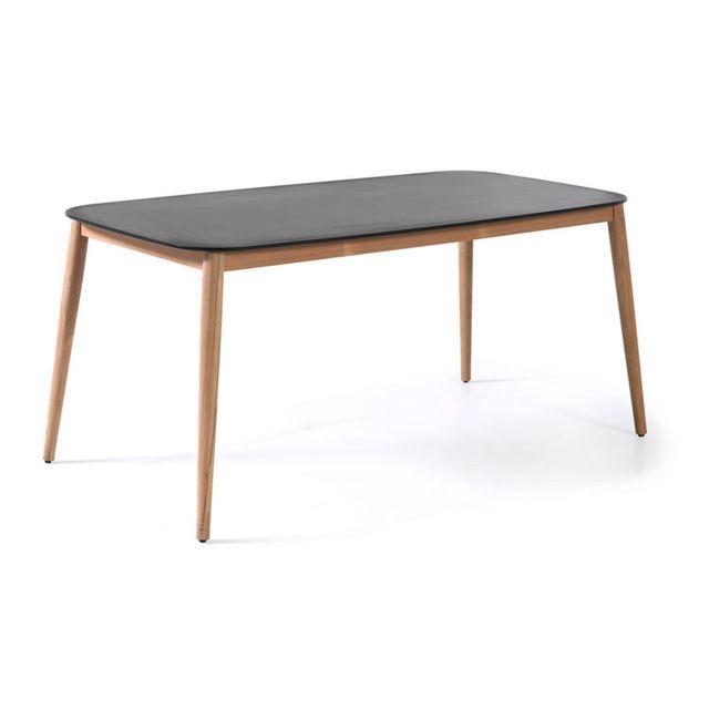 Gecko Jardin Table en teck et Duranite® noir 213 x 100 cm Kimito