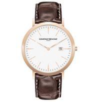 Beuchat - Montre Homme Constant modèle Elegante Blanche et Cuir Marron - Cb0050-4