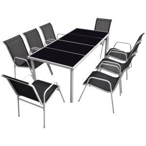 HAPPY GARDEN - Salon de jardin BALI en textilène noir 8 places - structure grise