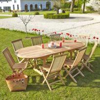 Bois Dessus Bois Dessous - Table de jardin en bois de teck avec rallonge 8 à 10 places