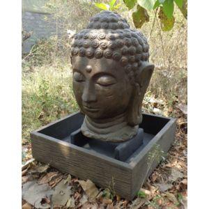 Bonareva fontaine de jardin t te de bouddha 1 m 30 brun for Tete bouddha pour jardin