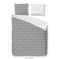 Good Morning - Parure de couette Cubes 100% coton - 1 housse de couette 200x200 cm + 2 taies d'oreillers 60x70 cm gris