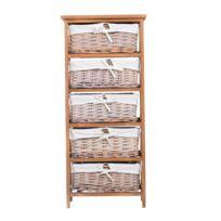 HOMCOM - Commode étagère style maison de campagne et antique armoire étagère avec 5 paniers 40l x 29l x 90h cm, brun 08
