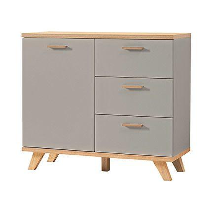 Commode 96x85x40cm - décor taupe et bois