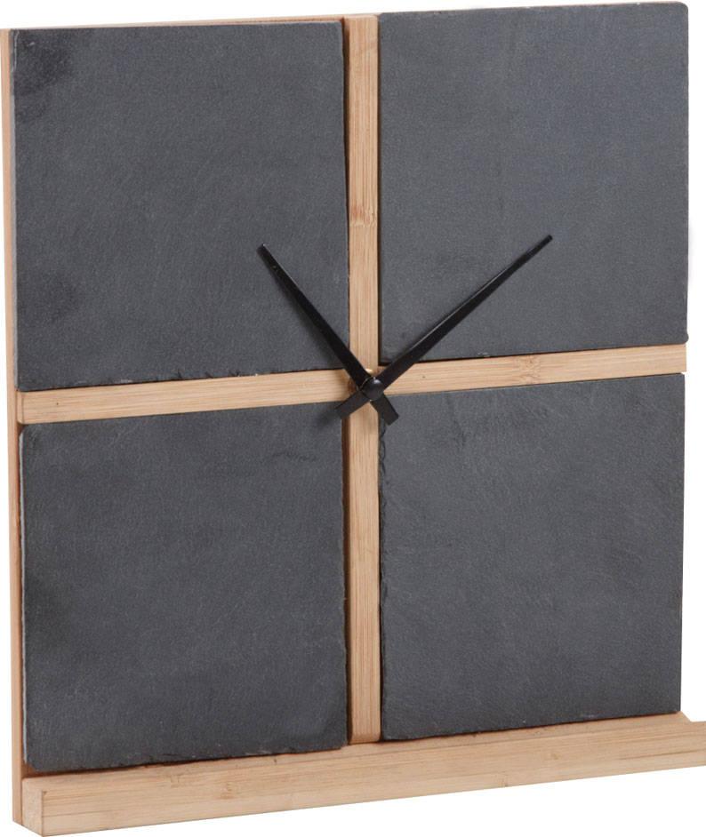 Horloge 4 cadre en Ardoise et Bambou 25x26,5x3cm