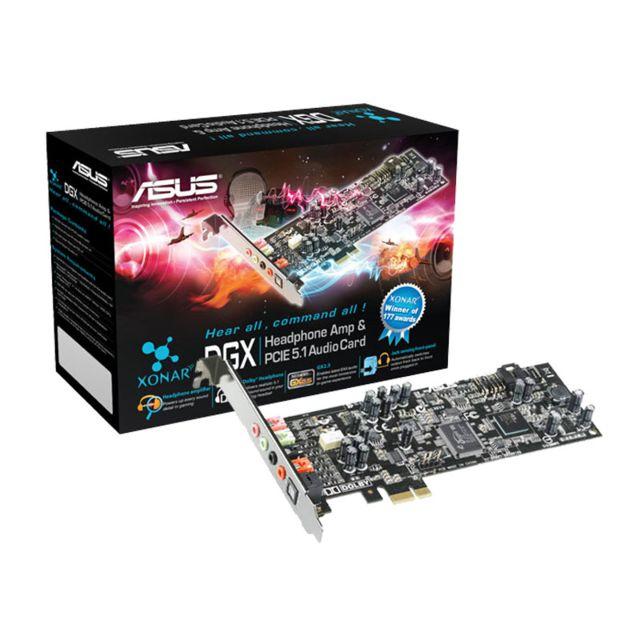 ASUS Carte son Xonar DGX - 5.1 - PCI-E Dominez vos adversaires grâce à une précision sonore hors du commun- Amplificateur pour casque intégré - Intensification de chaque détail sonore lors de vos parties - 3 modes de gains de niveaux prédéfinis - Technolo