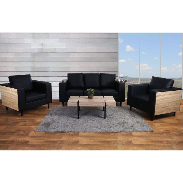 Mendler 3-1-1 garniture de canapés Nancy, canapé lounge, bois, aspect chêne ~ similicuir, noir