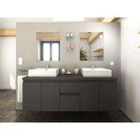ma maison mes tendances meuble de salle de bain double vasque 150 cm gris mat