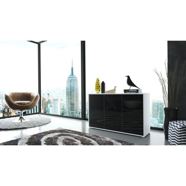 Mpc Commode moderne intégralement laquée corps blanc façade noir