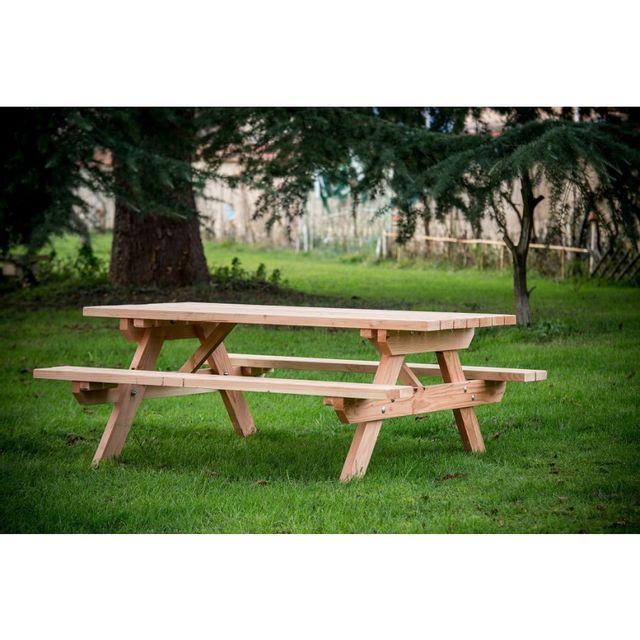 HABRITA Table forestière MUNICH en douglas longueur 190 cm 6 personnes