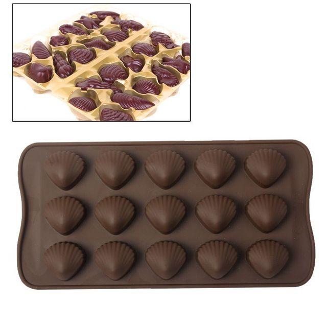 Yonis Plaque de 15 moules silicone coquillage fritures en chocolat marron