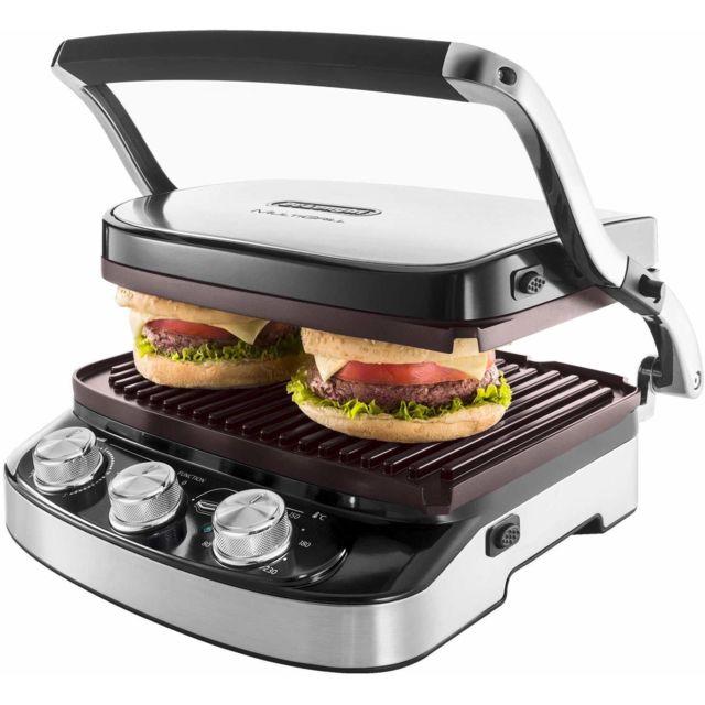 Delonghi grill viande électrique avec températures réglables 1500W noir argent