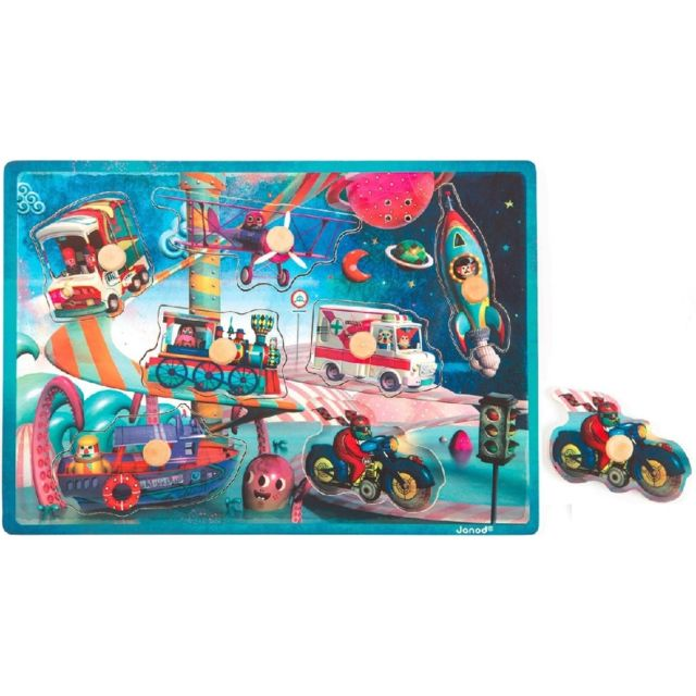 JANOD J07073 - Puzzle Bois Musical Space Motion 7 Pieces - Puzzle Bouton
