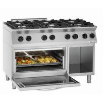 Bartscher - Cuisiniere 6 feux Mfg 7360 avec four electrique Gn 2/1 et soubassement ouvert