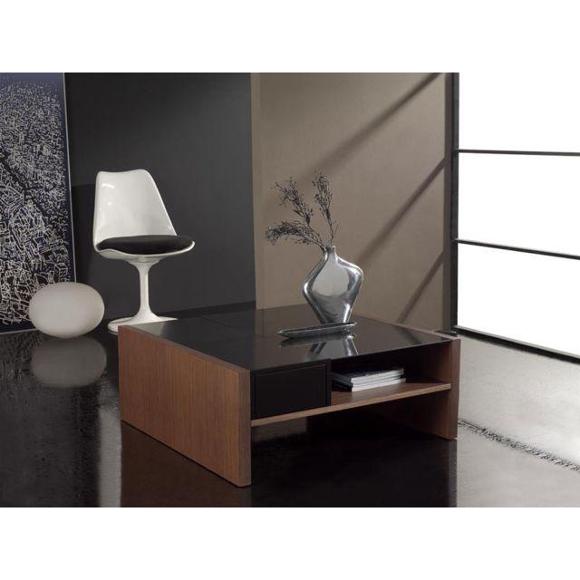 Kasalinea Table basse carrée couleur noire et cerisier contemporaine Lilian