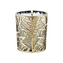 Ebougie - Bougie parfumée Fleurs d'oranger 190 gr verre transparent avec parure couture feuillage or