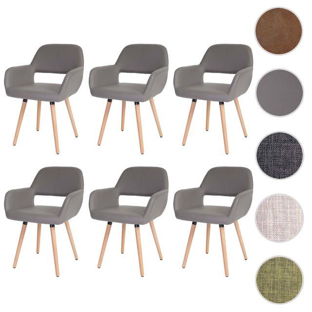 Mendler 6x chaise de salle à manger Altena Ii, fauteuil, design rétro des années 50 ~ similicuir, taupe