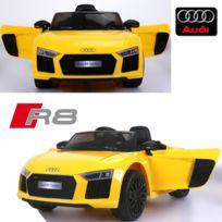 Audi - Voiture électrique enfant 12 volts nouvelle R8 pack luxe jaune à télécommande parentale siège simili cuir zudio bluetooth