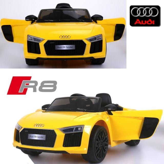 Audi - Voiture électrique enfant 12 volts nouvelle R8 pack luxe jaune à  télécommande parentale siège 2c8bda720959