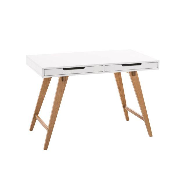 La Chaiserie Bureau 110cm design moderne blanc 2 tiroirs Polo