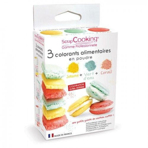 Scrapcooking Pour colorer vos pâtisseries et vos plats, ce kit de 3 colorants artificiels alimentaires de 5g, jaune, vert d'eau et co