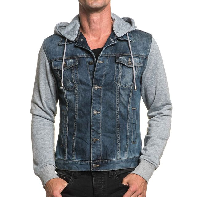 BLZ Jeans - Veste homme bi-matière bleu délavé à capuche - pas cher ... 324da51ffa9d
