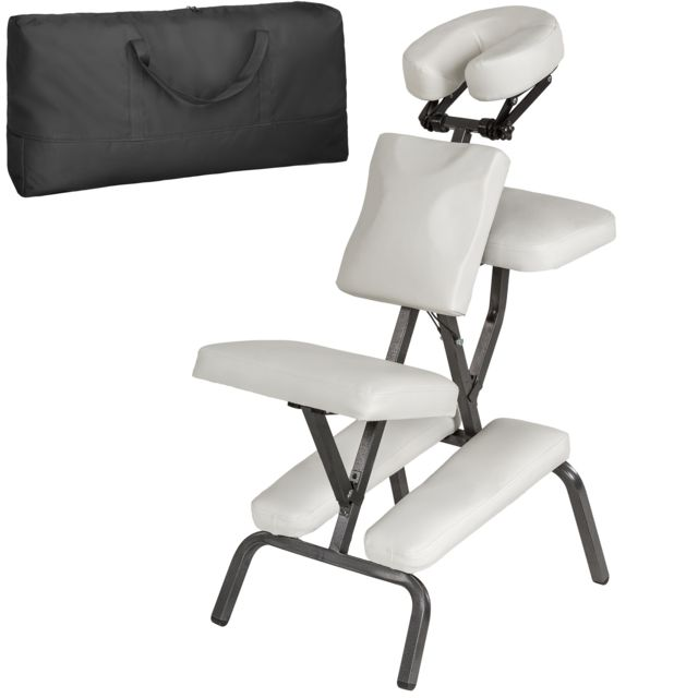 Tectake Chaise De Massage Pliante Rembourrage Epais Blanc Sac