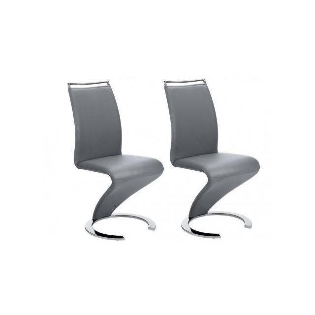 Lot de 2 chaises TWIZY Simili gris