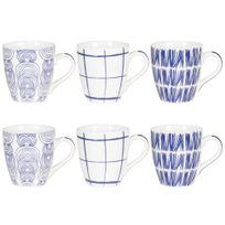 Table Passion - Tasses en porcelaine 25cl blanc et bleu - Coffret de 6 pièces Kashmir