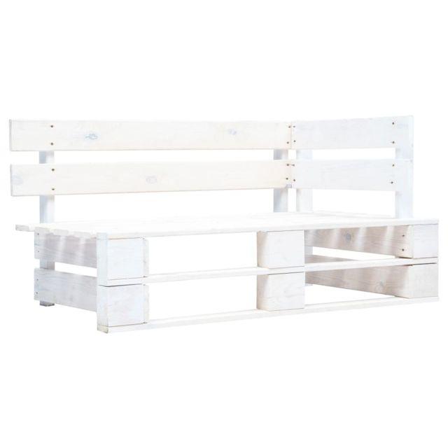 Vidaxl Banc d'Angle Palette de Jardin Fsc Blanc Sofa Canapé Salon Extérieur